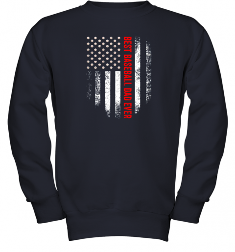 o0yt vintage usa best baseball dad ever american flag daddy gift youth sweatshirt 47 front navy
