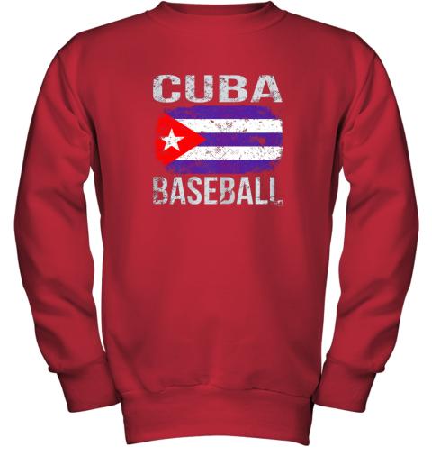 lmr4 cuba baseball cuban flag youth sweatshirt 47 front red