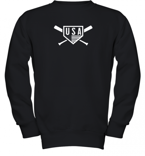 Vintage American Baseball and Softball USA Flag Youth Sweatshirt