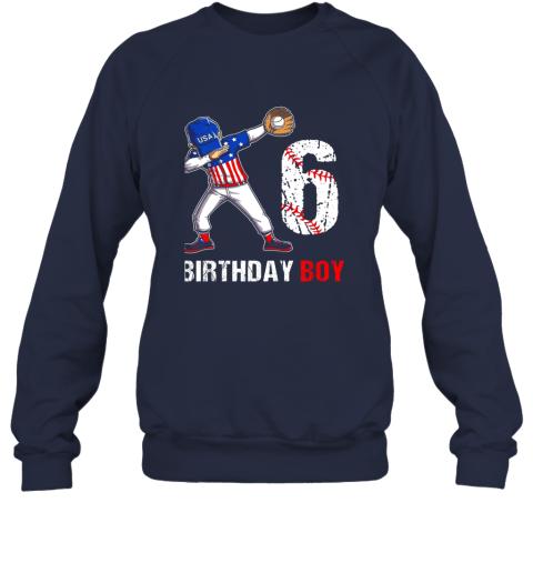 qcpt kids 6 years old 6th birthday baseball dabbing shirt gift party sweatshirt 35 front navy