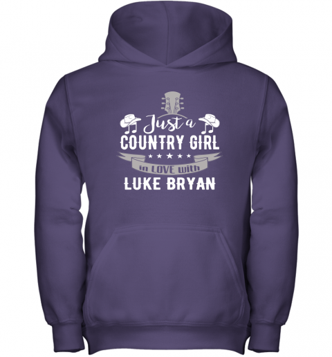 kfxg just a country girl in love with luke bryan shirts youth hoodie 43 front purple
