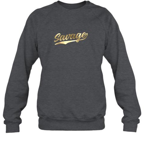 hw0q savage shirt retro 1970s baseball script font sweatshirt 35 front dark heather