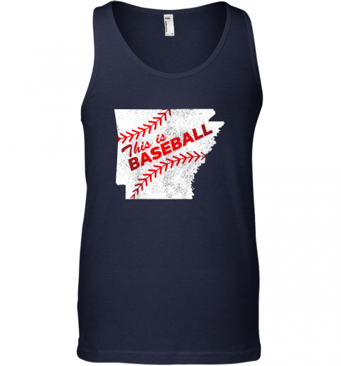 13k1 this is baseball arkansas with red laces unisex tank 17 front navy