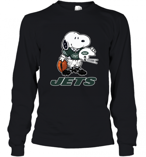 Snoopy A Strong And Proud New York Jets Player NFL Youth Long Sleeve