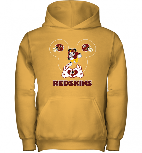 wcro i love the redskins mickey mouse washington redskins youth hoodie 43 front gold
