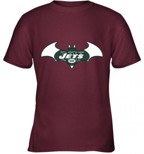 yafx we are the new york jets batman nfl mashup youth t shirt 26 front maroon