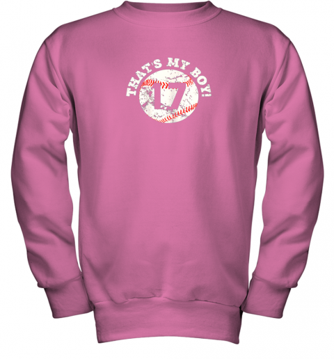 1skt that39 s my boy 17 baseball player mom or dad gift youth sweatshirt 47 front safety pink