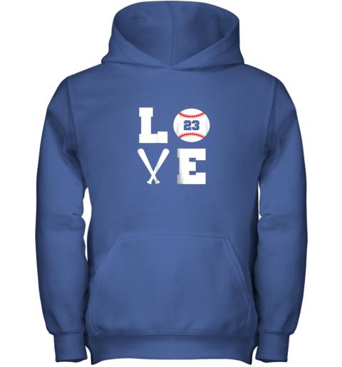 hgaw i love baseball player number 23 gift shirt youth hoodie 43 front royal