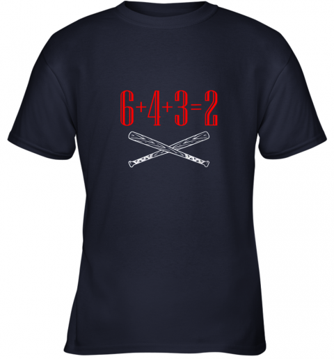 thrj funny baseball math 6 plus 4 plus 3 equals 2 double play youth t shirt 26 front navy