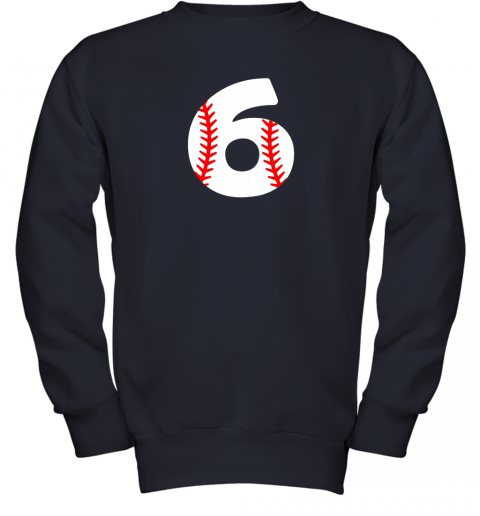 mrhd sixth birthday 6th baseball shirtnumber 6 born in 2013 youth sweatshirt 47 front navy