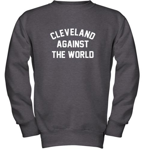 iqs9 cleveland against the world football baseball basketball youth sweatshirt 47 front dark heather