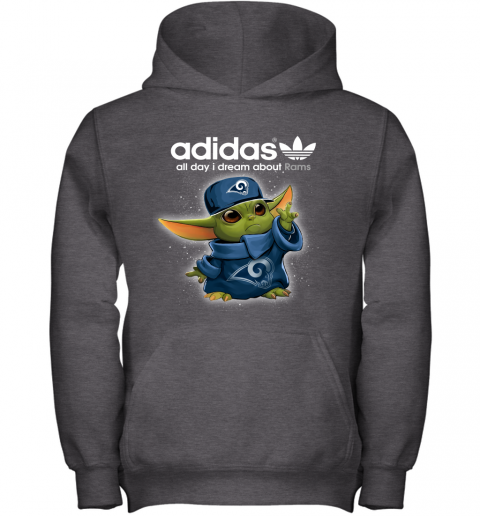 8onw baby yoda adidas all day i dream about los angeles rams youth hoodie 43 front dark heather