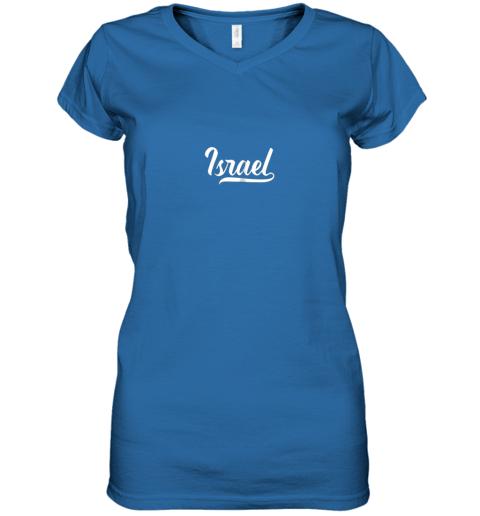 ku0v israel baseball national team fan cool jewish sport women v neck t shirt 39 front royal