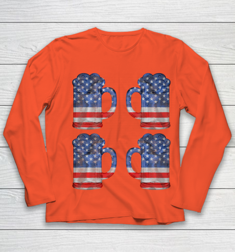 Beer Lover Funny Shirt Beer American Flag 4th Of July Merica Youth Long Sleeve 3