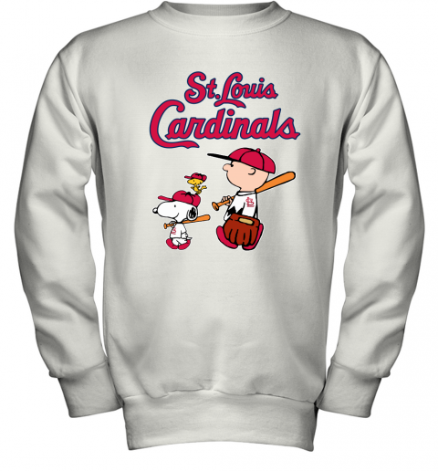 p48o st louis cardinals lets play baseball together snoopy mlb shirt youth sweatshirt 47 front white