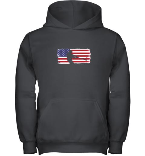 USA American Flag Baseball Player Perfect Gift Youth Hoodie