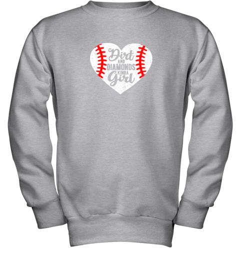 pkvy dirt and diamonds kinda girl baseball youth sweatshirt 47 front sport grey