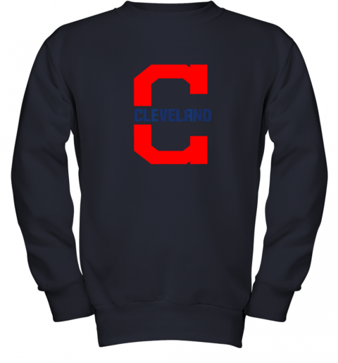rknk cleveland hometown indian tribe vintage for mlb fans youth sweatshirt 47 front navy