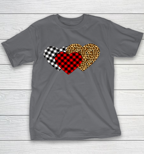 Leopard Heart Buffalo Plaid Heart Valentine Day Youth T-Shirt 5