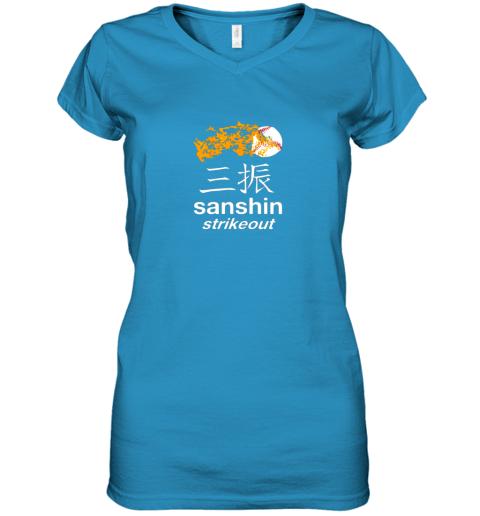 c2uw japanese baseball team shirt strikeout kanji flashcard women v neck t shirt 39 front sapphire