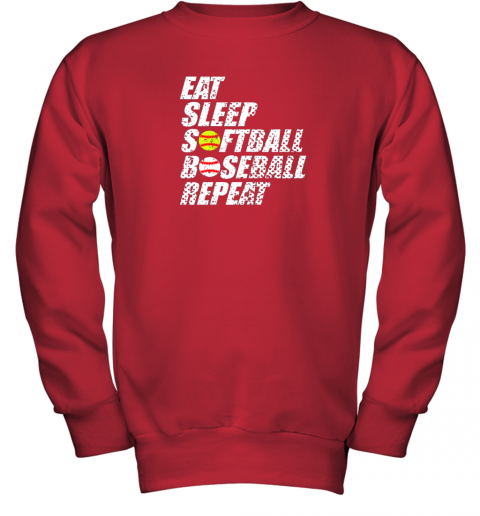 ypmz softball baseball repeat shirt cool cute gift ball mom dad youth sweatshirt 47 front red
