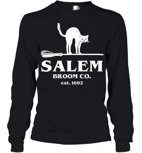 Salem Broom Co Company Halloween Black Cat Witch and Broom Youth Long Sleeve