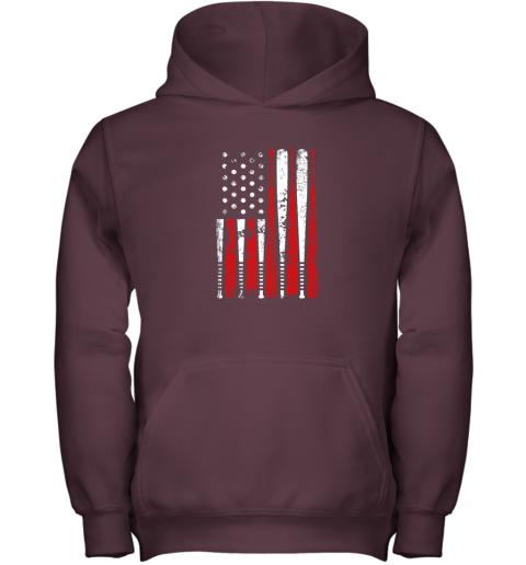 ykpl vintage baseball bat american usa flag gift youth hoodie 43 front maroon
