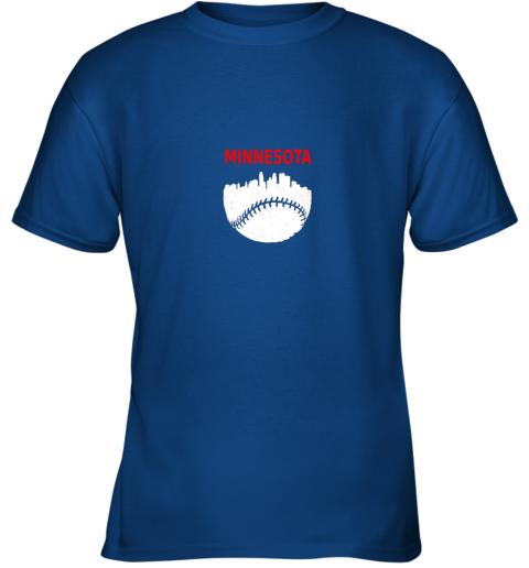 x98r retro minnesota baseball minneapolis cityscape vintage shirt youth t shirt 26 front royal