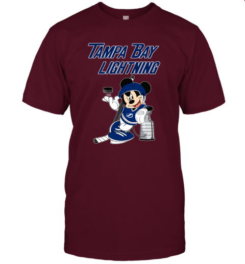 rcnl mickey tampa bay lightning with the stanley cup hockey nhl jersey t shirt 60 front maroon