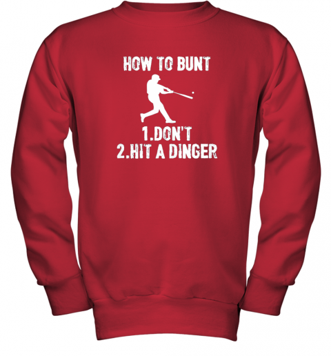 dkqk how to bunt don39 thit a dinger funnybaseball youth sweatshirt 47 front red