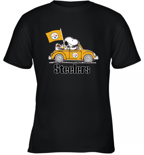 Snoopy And Woodstock Ride The Pittsburg Steelers Car Youth T-Shirt