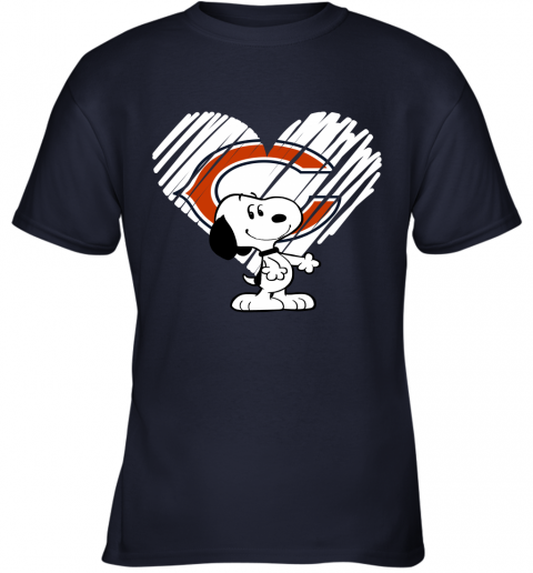 o9kt i love chicago bears snoopy in my heart nfl youth t shirt 26 front navy