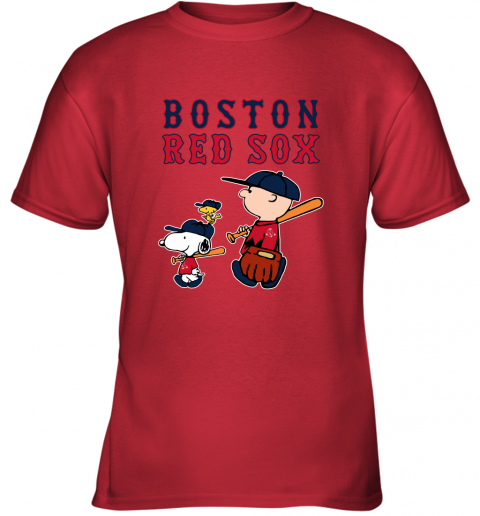 lw55 boston red sox lets play baseball together snoopy mlb shirt youth t shirt 26 front red