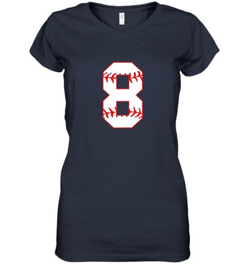 ix9l cute eighth birthday party 8th baseball shirt born 2011 women v neck t shirt 39 front navy