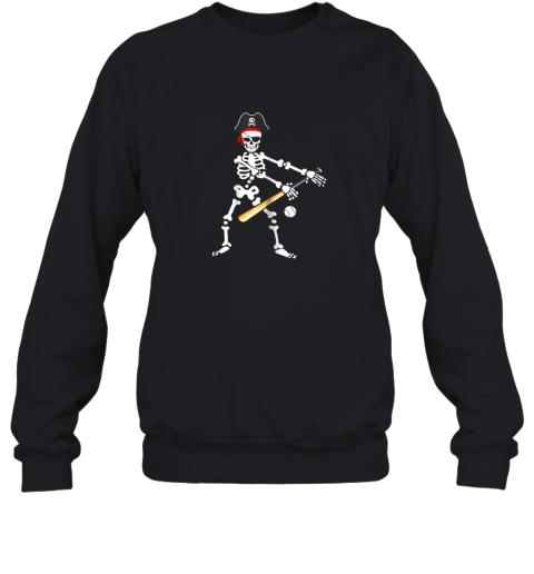 Skeleton Pirate Floss Dance With Baseball Shirt Halloween Sweatshirt