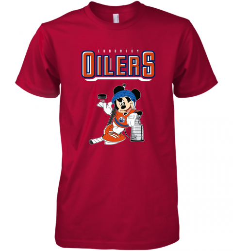 ozot mickey edmonton oilers with the stanley cup hockey nhl shirt premium guys tee 5 front red