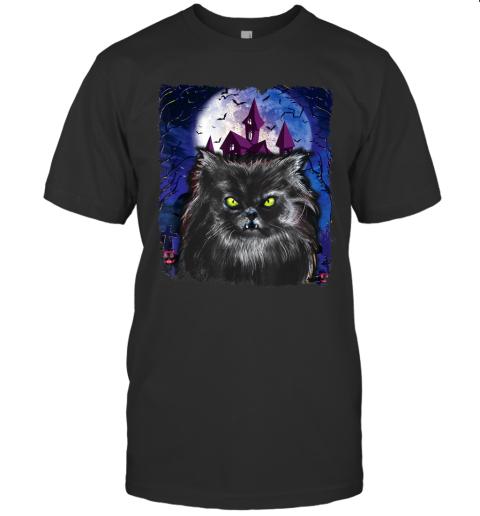 Scary Halloween Black Cat Costume Bat Haunted Creepy House T-Shirt