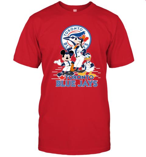 k5yu toronto blue jays mickey donald and goofy baseball jersey t shirt 60 front red
