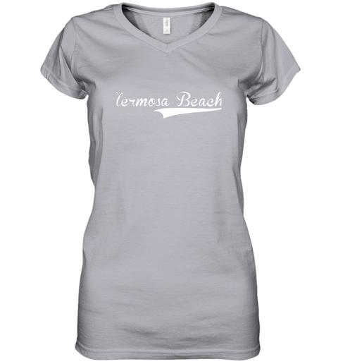 lyrq hermosa beach baseball softball styled women v neck t shirt 39 front sport grey