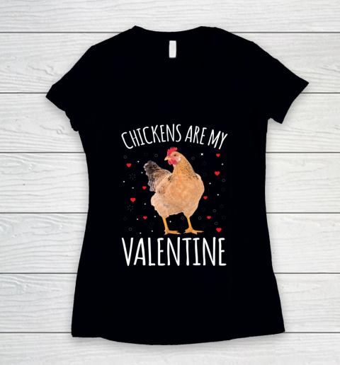 Funny Valentines Day Shirt Farmer Chickens Are My Valentine Women's V-Neck T-Shirt