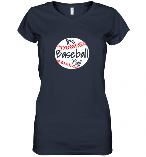 tzlp it39 s baseball y39 all shirt funny pitcher catcher mom dad gift women v neck t shirt 39 front navy