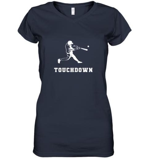 v1ed touchdown baseball shirtfunny sarcastic novelty women v neck t shirt 39 front navy