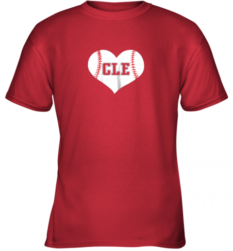 54nz cleveland ohio baseball love heart cle gift jersey fan youth t shirt 26 front red