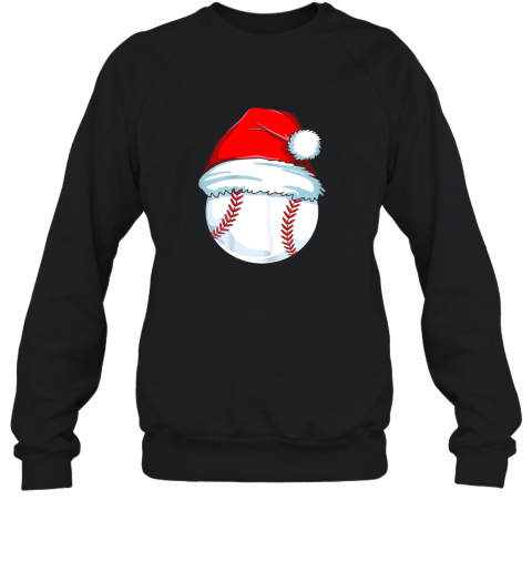 Christmas Baseball Shirt For Kids Men Ball Santa Pajama Sweatshirt