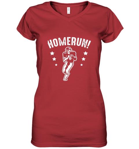 qzrc homerun football baseball mix wrong sports women v neck t shirt 39 front red