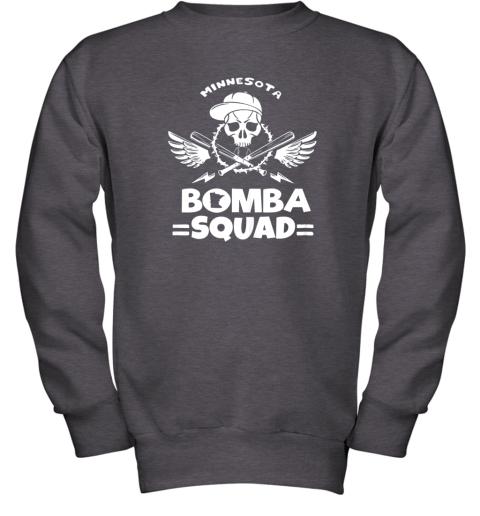 6098 bomba squad twins shirt minnesota baseball men bomba squad youth sweatshirt 47 front dark heather