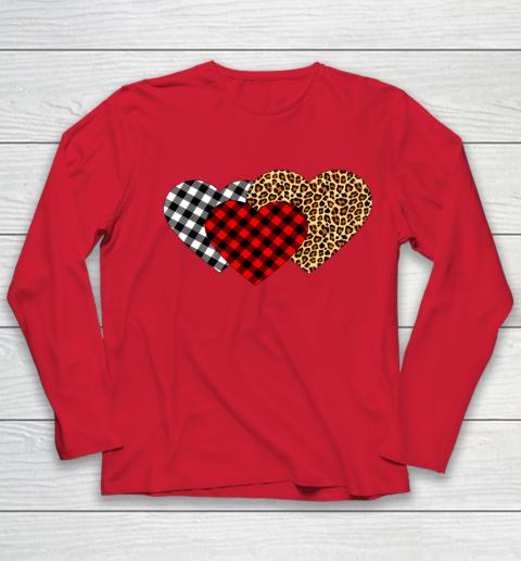 Leopard Heart Buffalo Plaid Heart Valentine Day Youth Long Sleeve 8