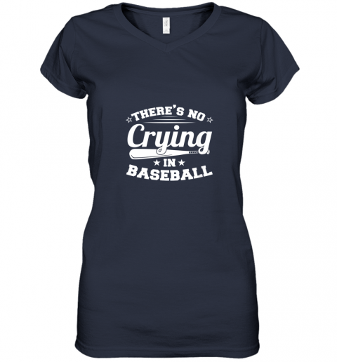 ozmn there39 s no crying in baseball gift women v neck t shirt 39 front navy