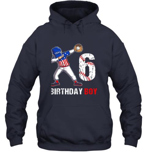 j82m kids 6 years old 6th birthday baseball dabbing shirt gift party hoodie 23 front navy