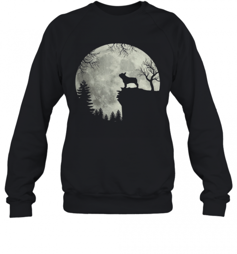 Frenchie dog moon howl in forest Halloween dog Frenchie Sweatshirt